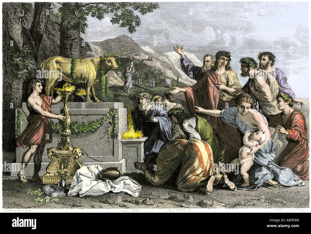 Ancient Hebrews worshiping a calf of gold after escaping from slavery in Egypt with Moses. Hand-colored halftone of an illustration - Stock Image