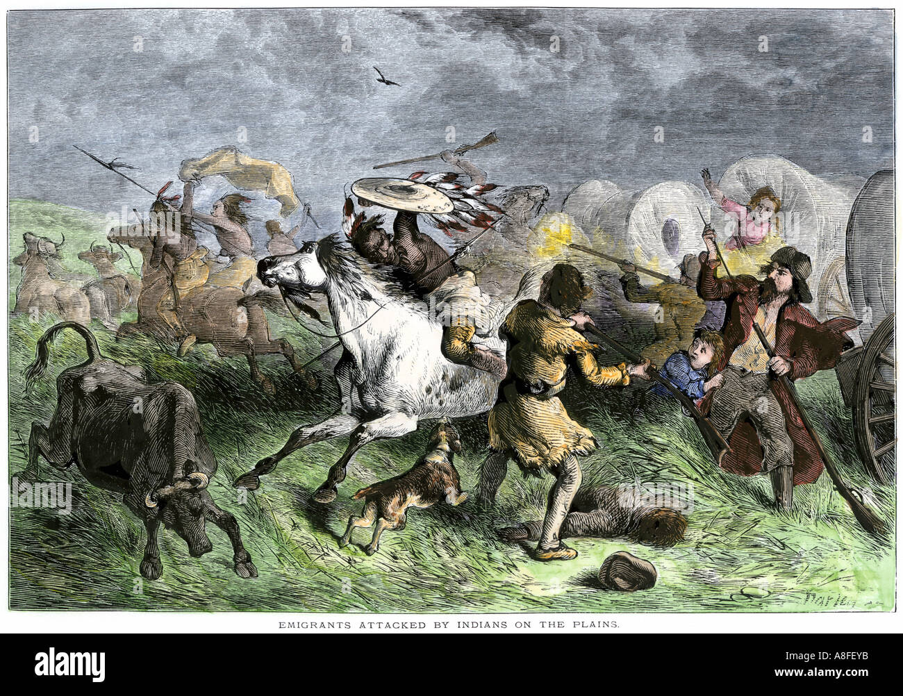 Native American war party attacking a wagon train of settlers on the Great Plains 1800s. Hand-colored woodcut Stock Photo