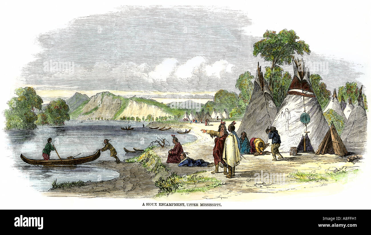 Sioux village along the upper Mississippi River 1800s. Hand-colored woodcut - Stock Image
