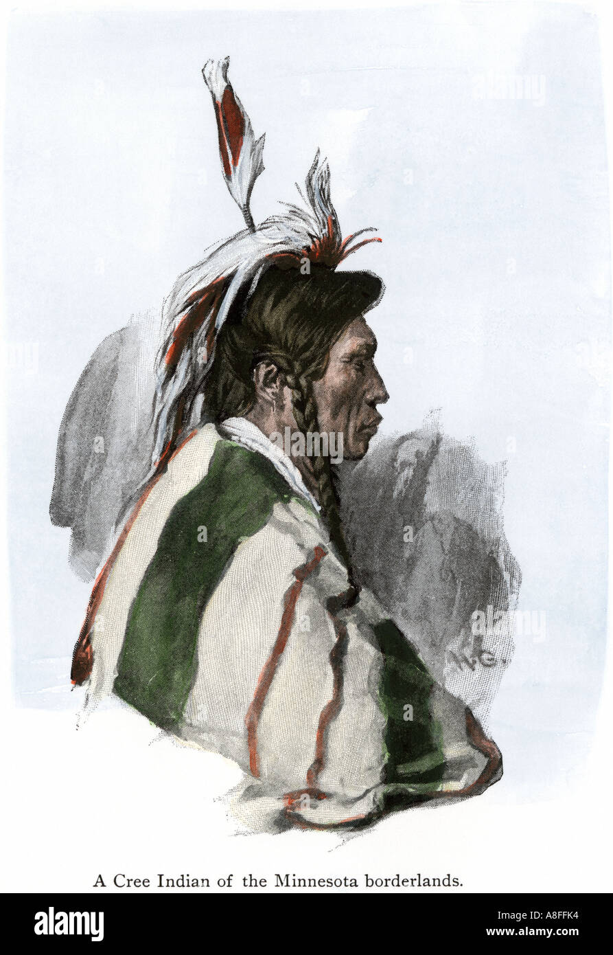 Cree Indian of the Minnesota and Canada borderlands 1800s. Hand-colored halftone of an illustration - Stock Image