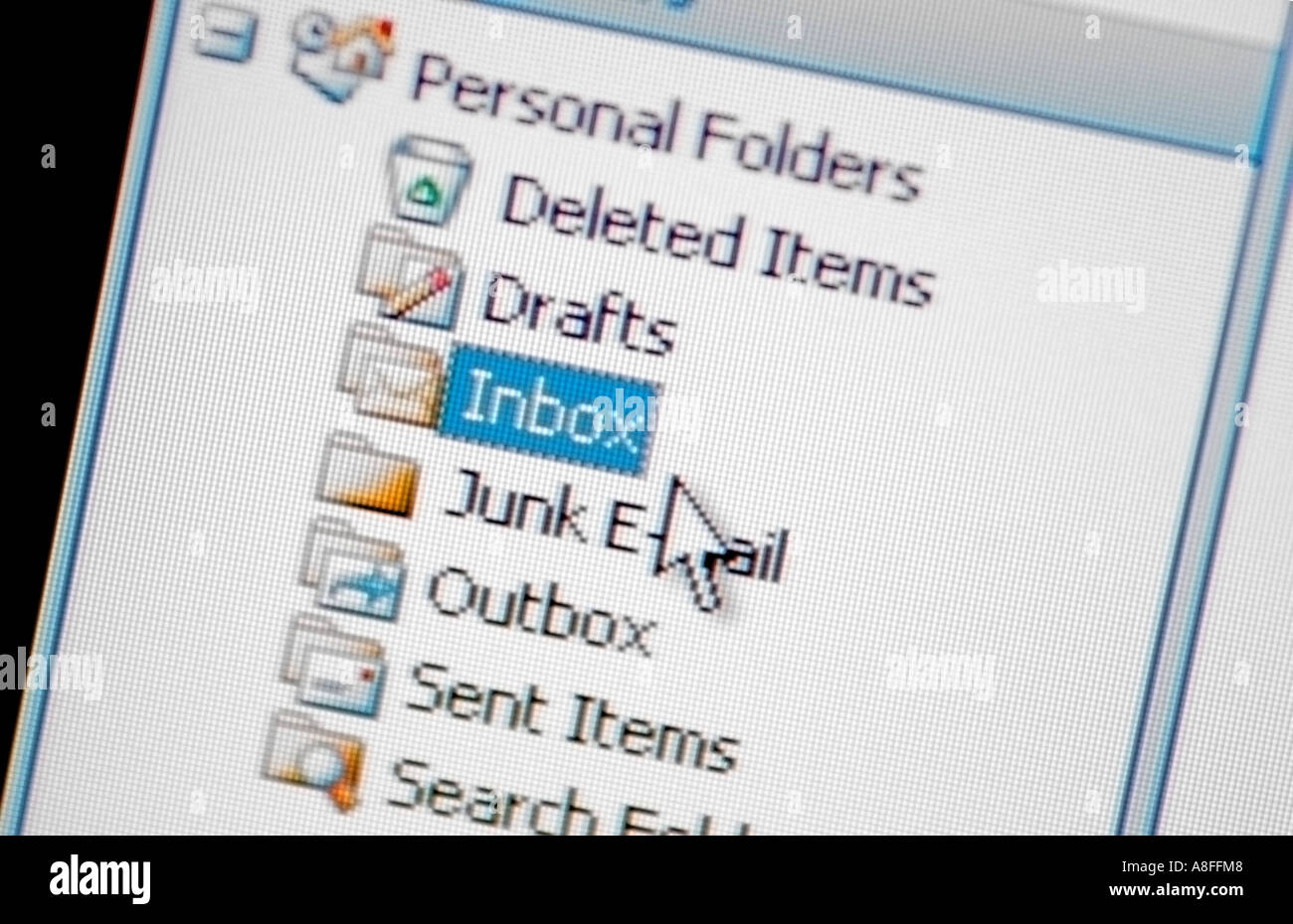 Email Inbox and Mouse Cursor - Stock Image