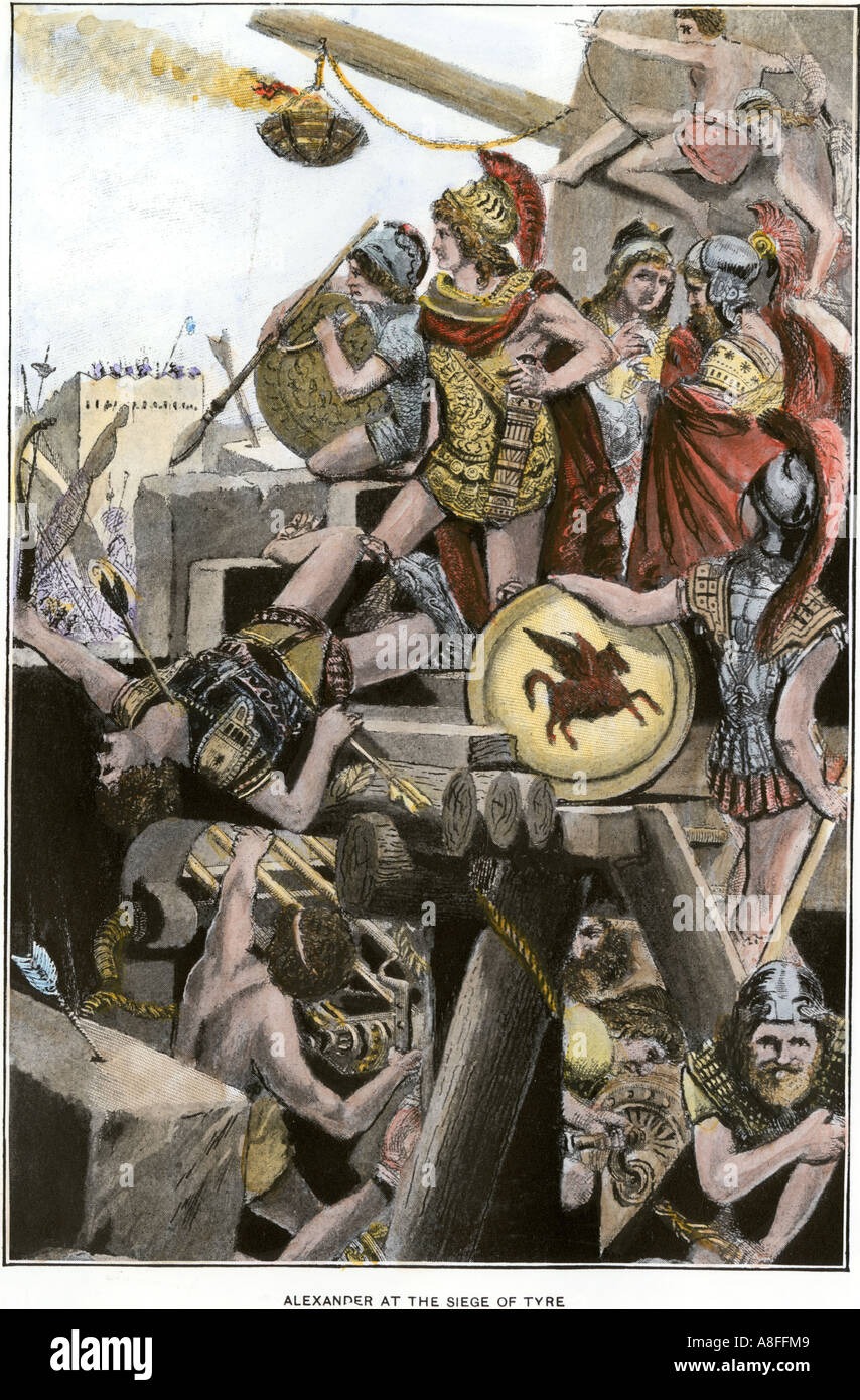 Alexander the Great commanding the Greek army at the siege of Tyre 332 BC. Hand-colored halftone of an illustration - Stock Image