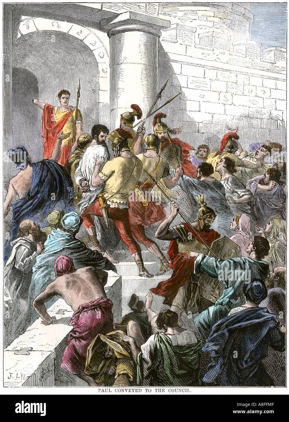 Paul arrested in Jerusalem and taken to the Roman authorities. Hand-colored woodcut - Stock Image