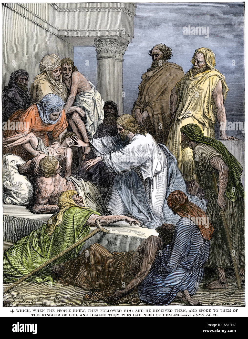 Jesus healing the sick and the lame. Hand-colored woodcut - Stock Image