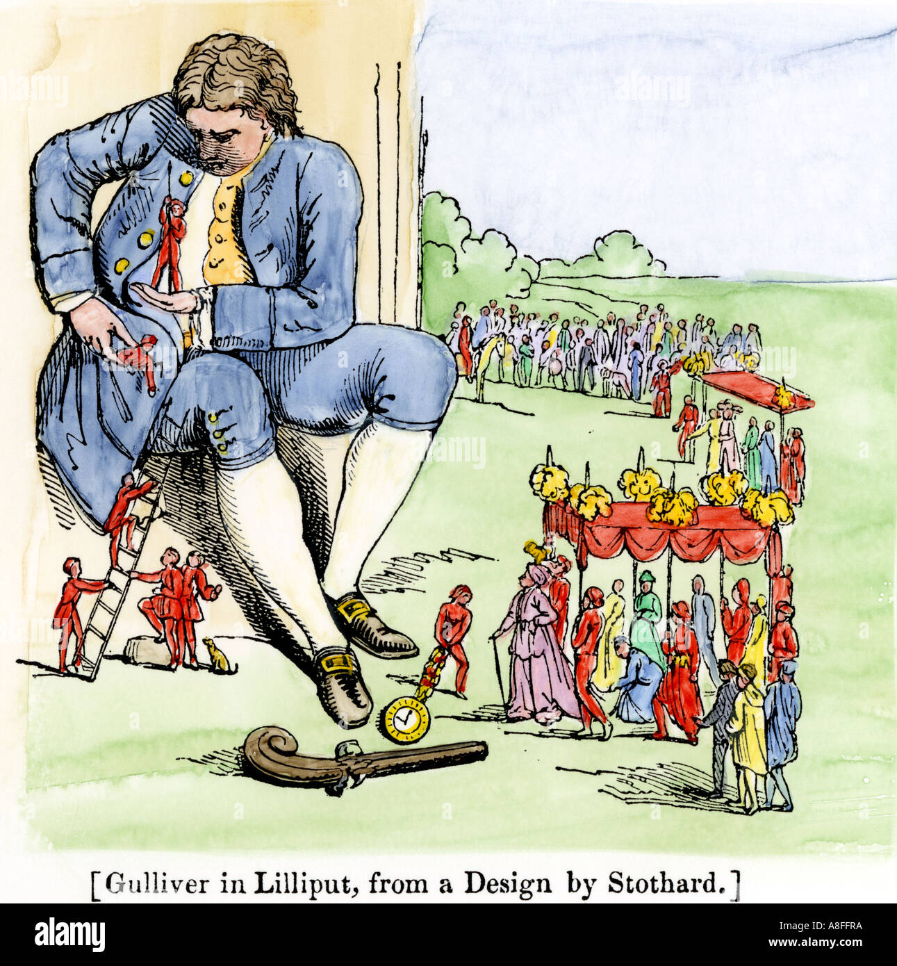 Gulliver in Lilliput as described by Jonathan Swift in Gullivers Travels. Hand-colored woodcut - Stock Image