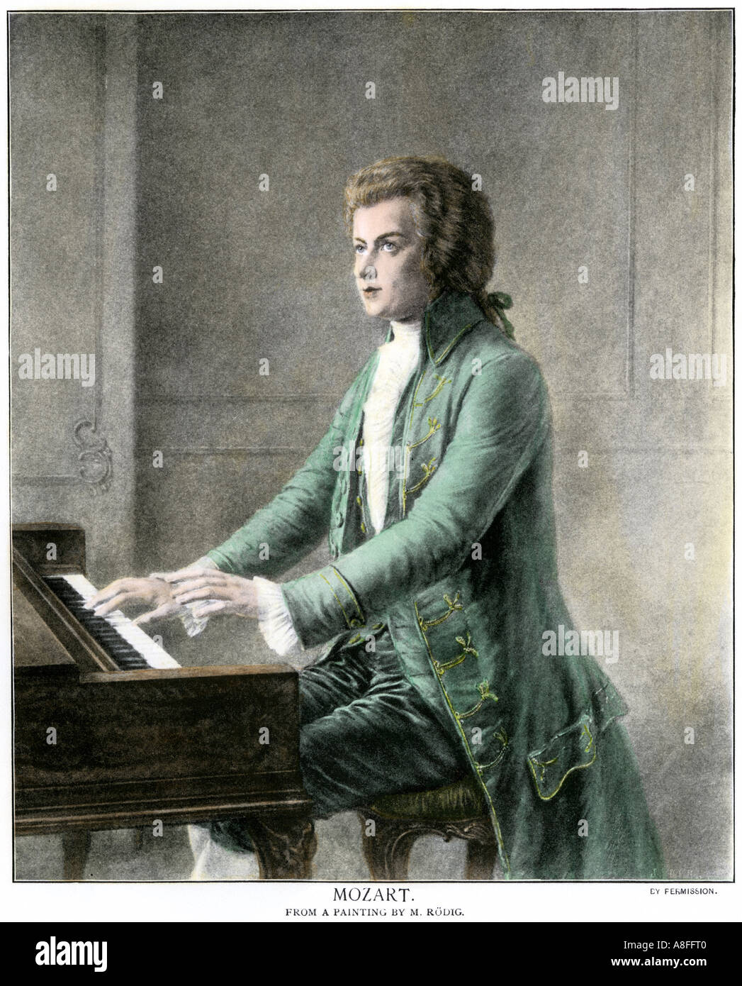 Wolfgang Amadeus Mozart at the keyboard. Hand-colored halftone of an illustration - Stock Image
