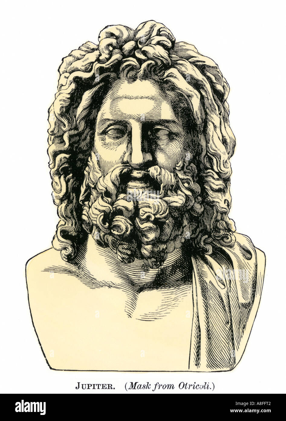 Roman Jupiter or Zeus in Greek mythology classical god of the sky and of laws. Hand-colored woodcut - Stock Image