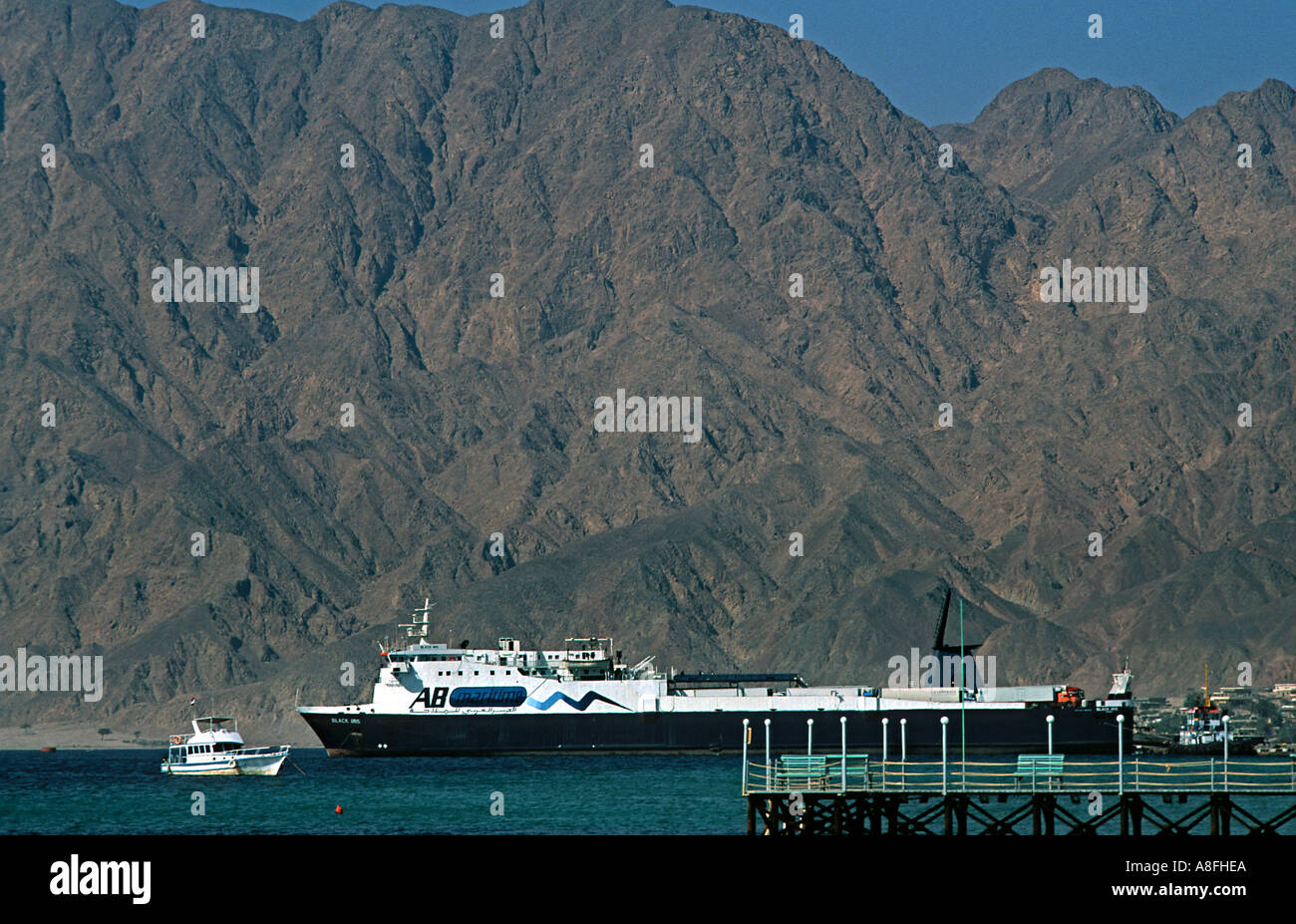 The ferry to Aqaba Jordan leaves twice daily from Nuweiba Red Sea coast at Nuweiba north of Sharm El Sheik Egypt Stock Photo