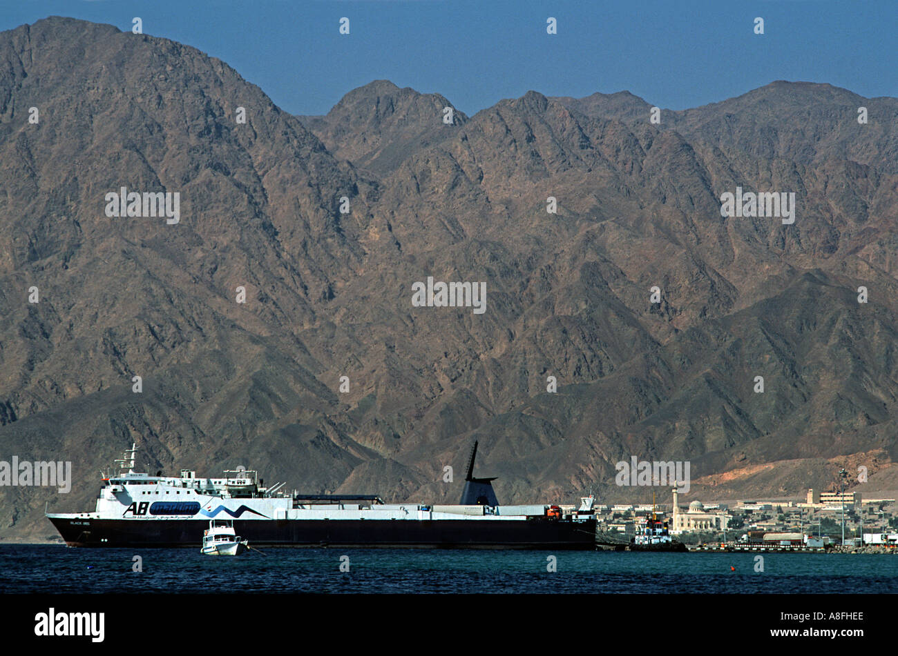 The ferry to Aqaba Jordan leaves twice daily from Nuweiba Red Sea coast at Nuweiba north of Sharm El Sheik Egypt Middle East - Stock Image