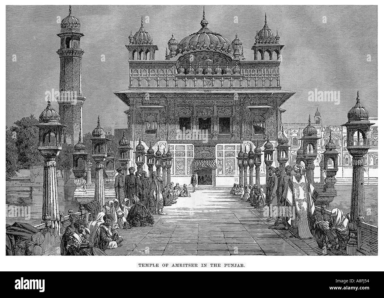 19th Century Colonial Period Engraving Of The Golden Temple Of Stock