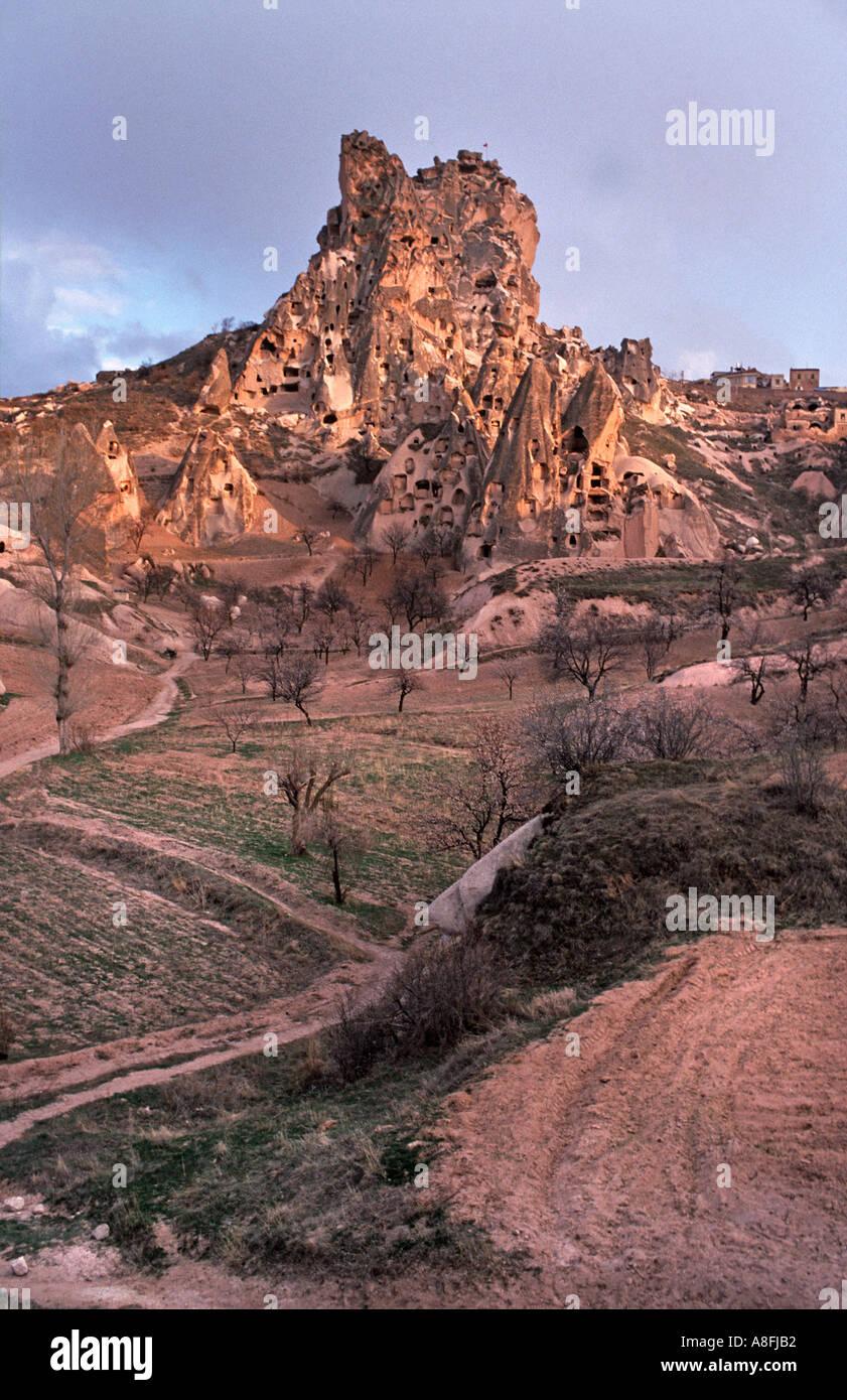 Cappadocia a landscape of cones pillars hollowed out dwellings Uchisar Cappadocia C Anatolia Turkey The Castle of Uchisar - Stock Image