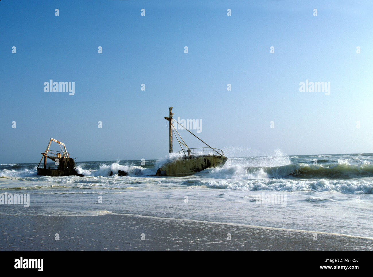 shipwreck on the Skeleton Coast Namibia - Stock Image