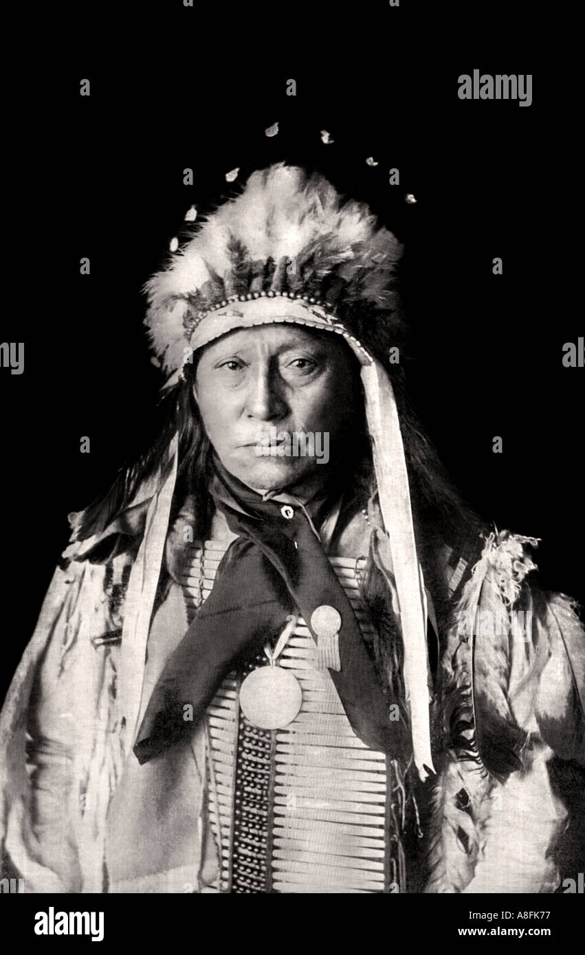19th century portrait of a Native American Indian from old printed plate A Sioux Chief USA Tribal chief Dr R W Shufeldt - Stock Image