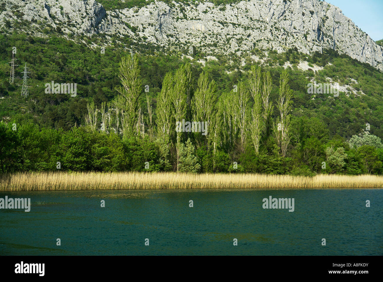 River Cetina and Canyon landscape of Omis Makarska Riviera Adria Dalmatia Adriatic coast Croatia Stock Photo