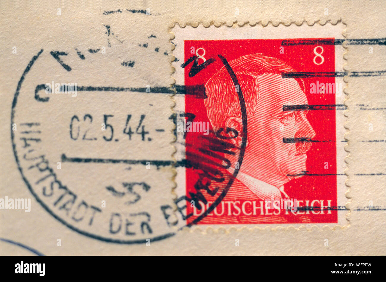 Stamp of the leader of the third empire of Germany Adolf Hitler - Stock Image