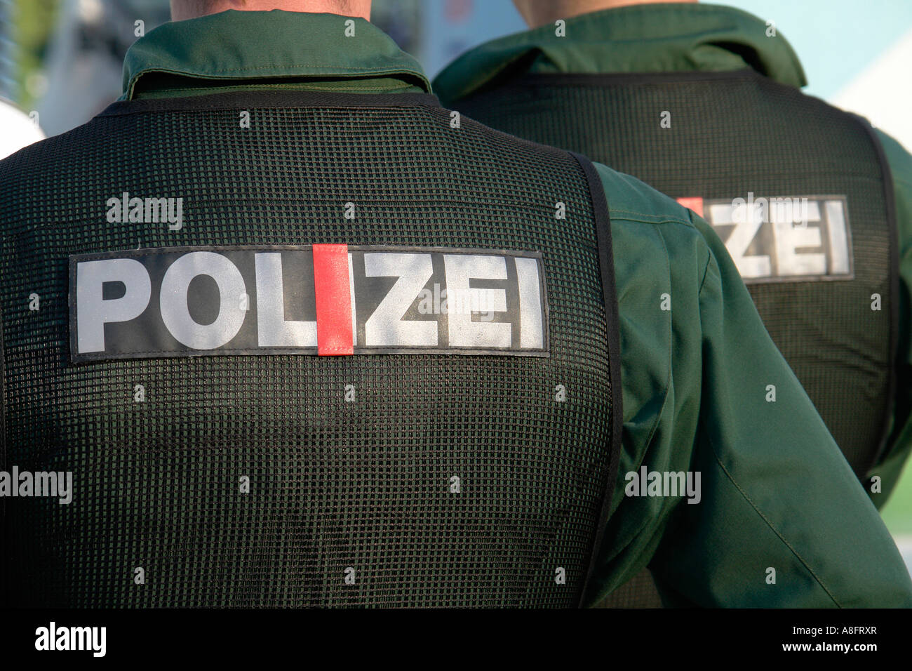 Police force on duty at football game - Stock Image