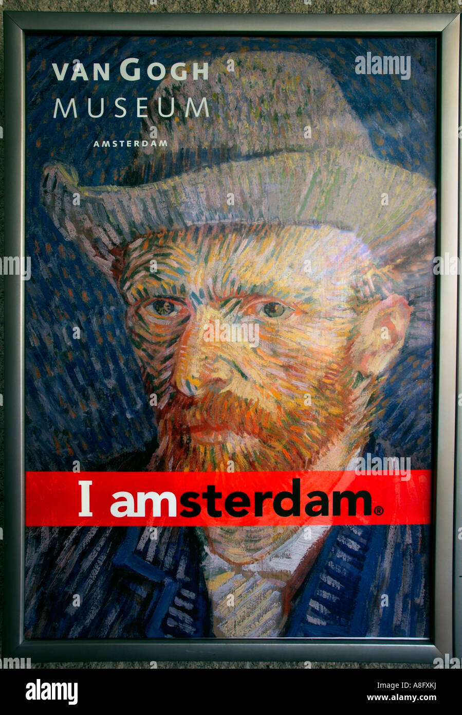 A poster with a portrait of Van Gogh advertising the Van Gogh museum ...