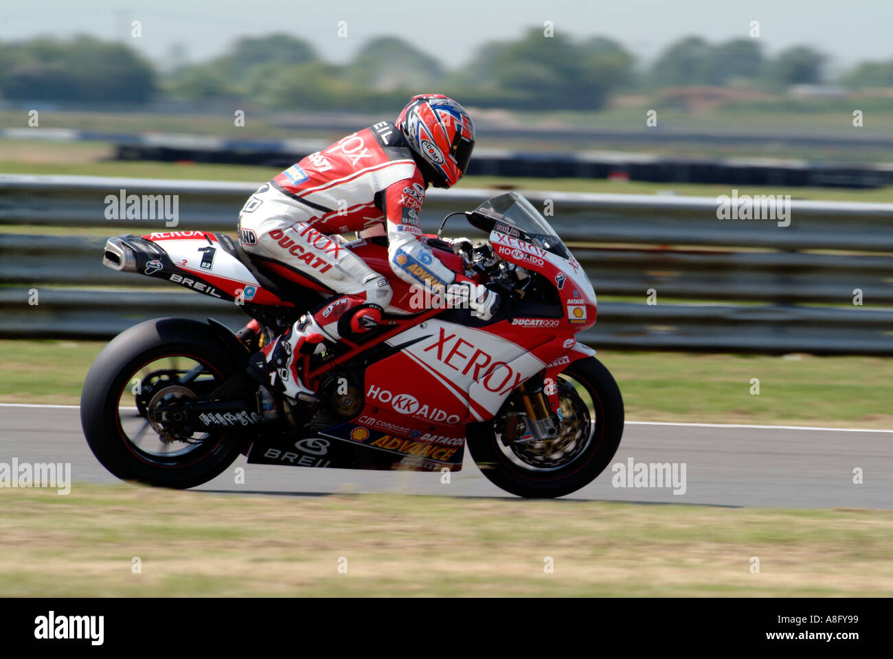 James Toseland on his Ducati at Silverstone - Stock Image