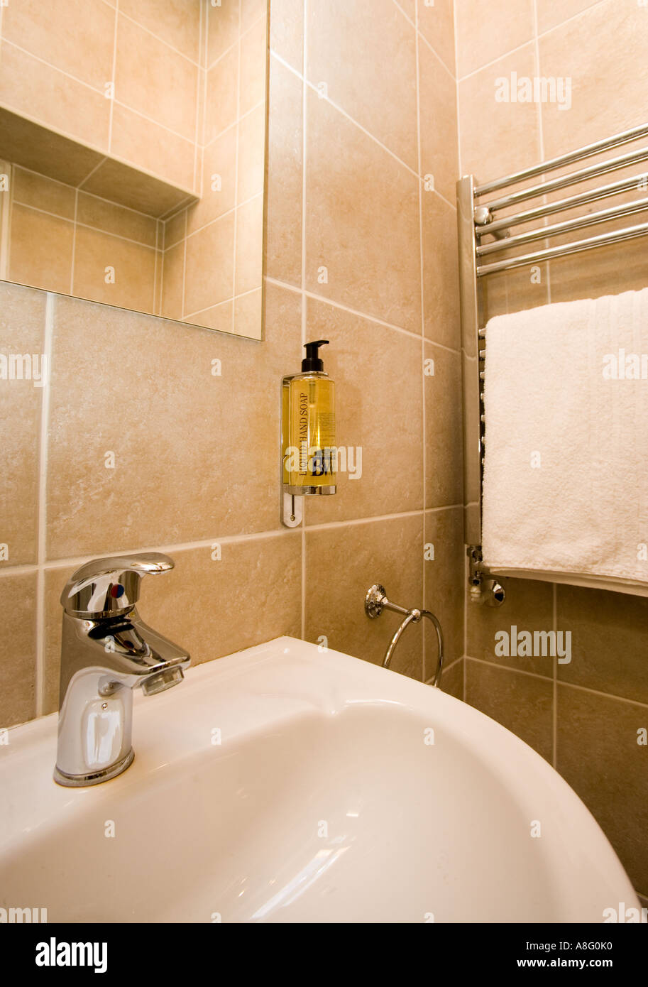 Bathroom Sink With Wall Mounted Soap Dispenser And Towel Rail