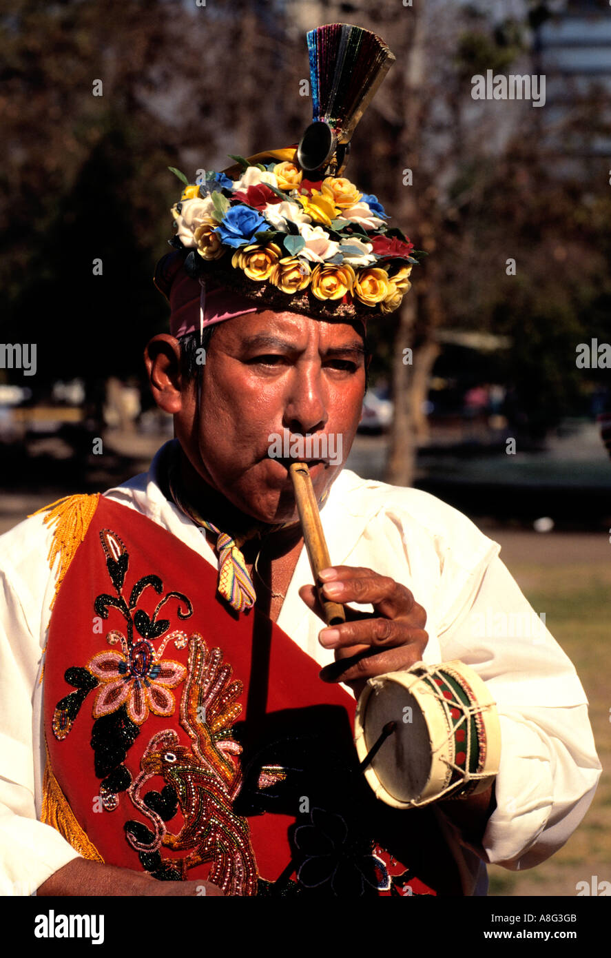 Mexico Mexican Flute music man Native American - Stock Image