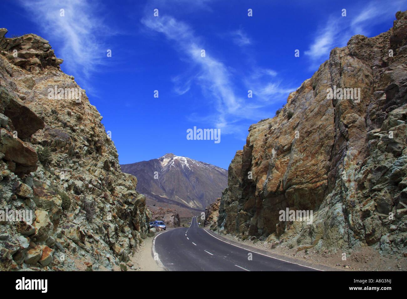Mount Teide Highest mountain in Spain located in Tenerife Canary Islands seen from Los Azulejos - Stock Image