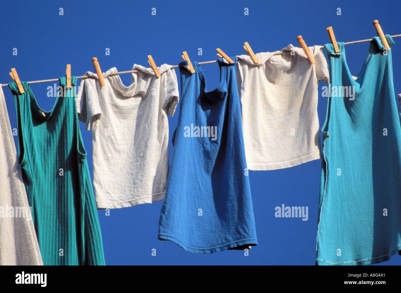 laundry on rope, Sweden - Stock Image
