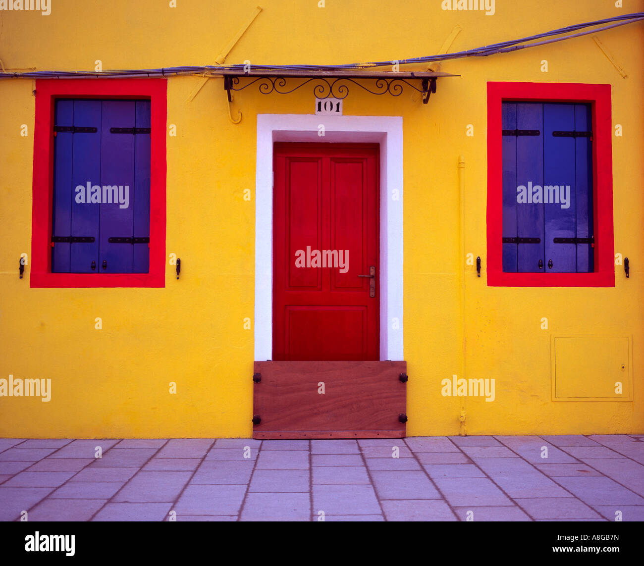 Red Painted Front Door Shutters Stock Photos Red Painted Front
