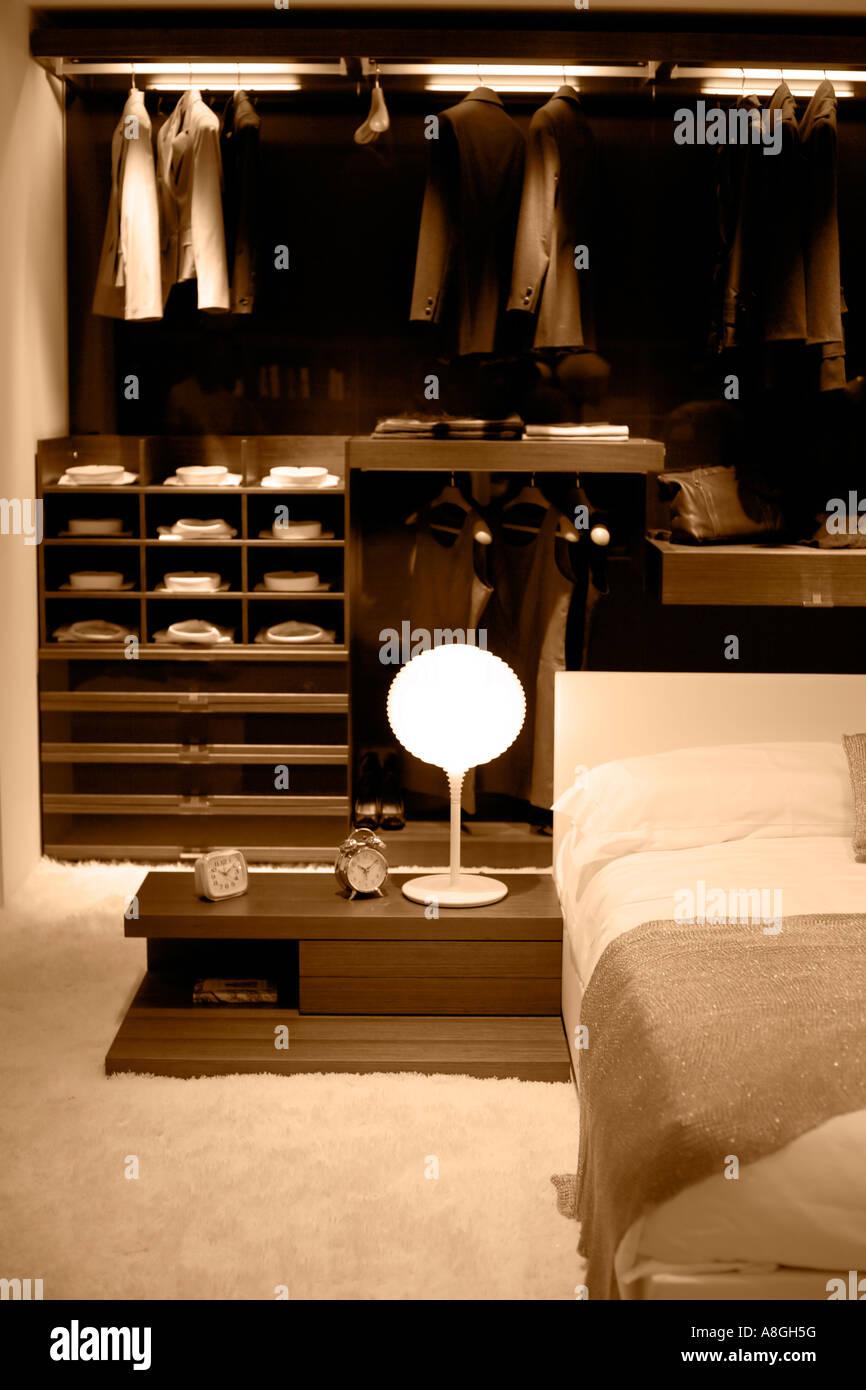 Bedroom set up in sepia tones - Stock Image