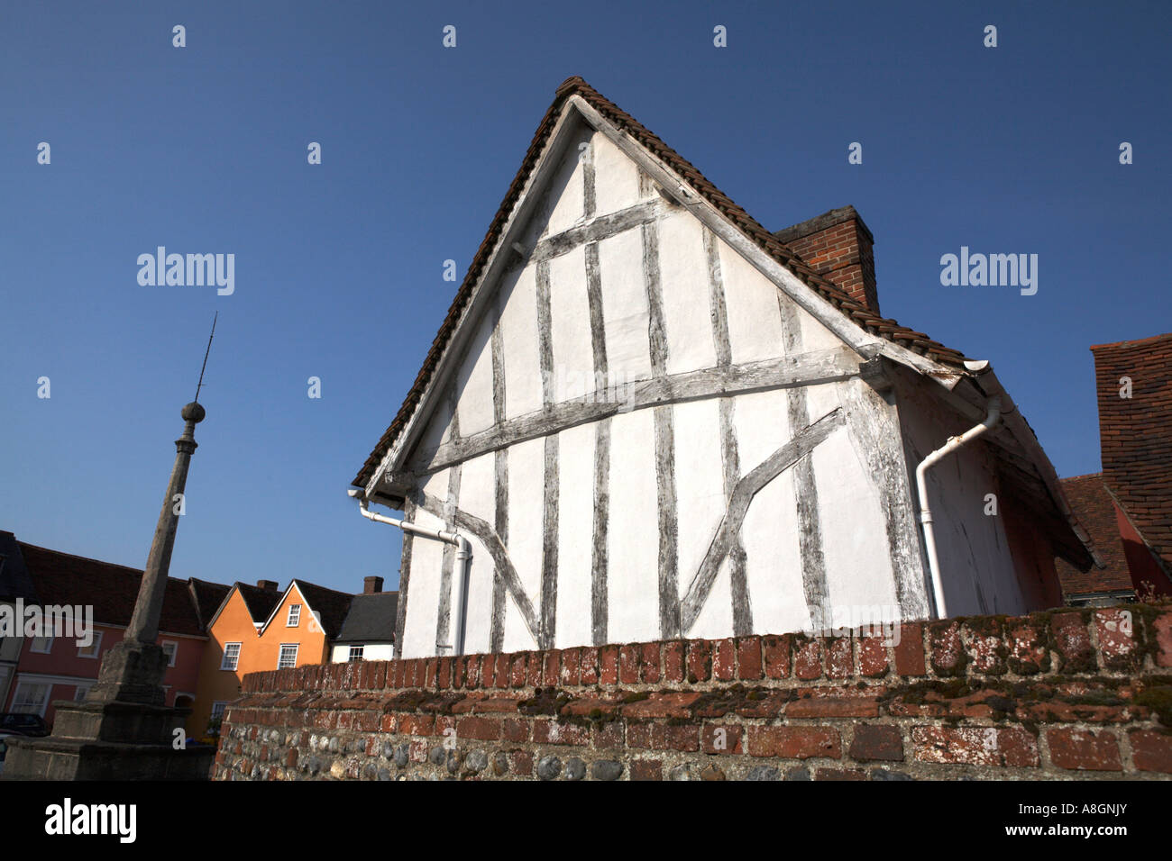 Lavenham Suffolk England The Toll Cottage Timber frame and limewash medieval architecture building Market Square - Stock Image