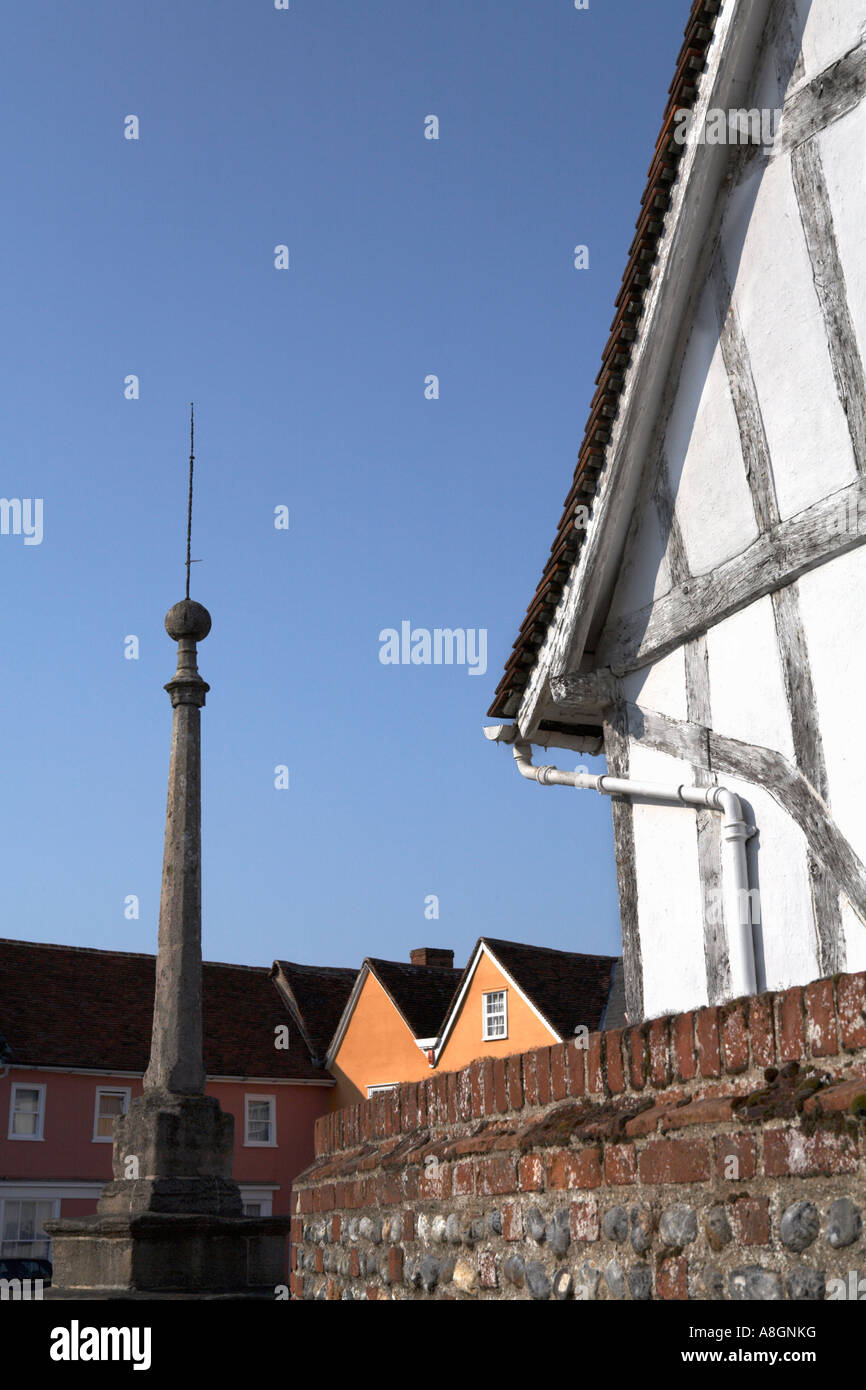 Lavenham Suffolk England The Toll Cottage Oak Timber frame white lime wash medieval architecture Market Square and - Stock Image