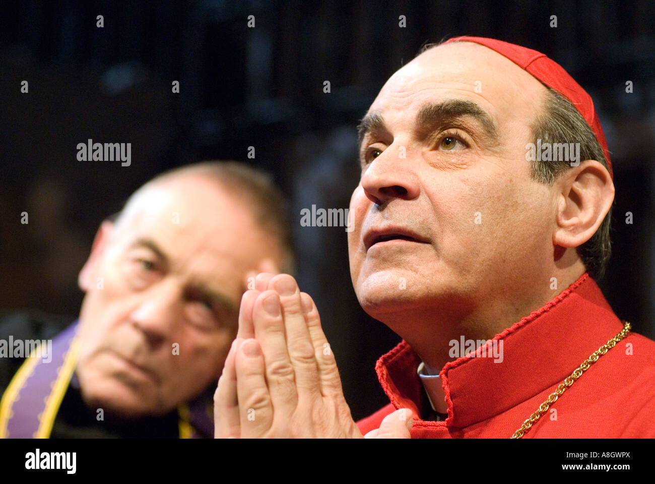 David Suchet playing Cardinal Benelli and Michael Jayston as The Confessor in The Last Confession - Stock Image