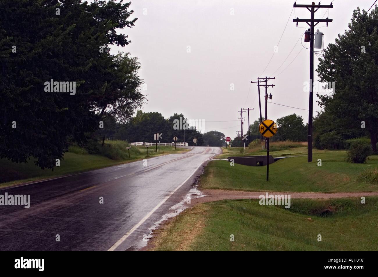 Rain Slicked Road Yoder Kansas Stock Photo
