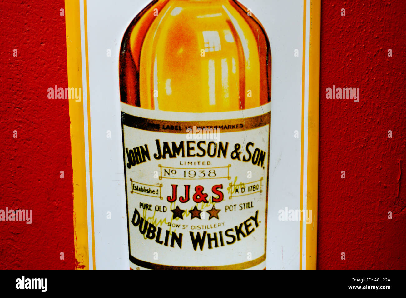 Ireland, Dublin, Jameson whiskey sign Stock Photo
