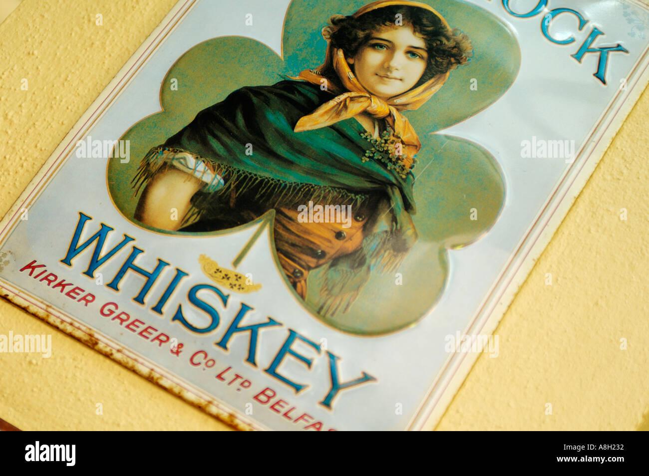 Ireland, Dublin, Shamrock whiskey sign Stock Photo