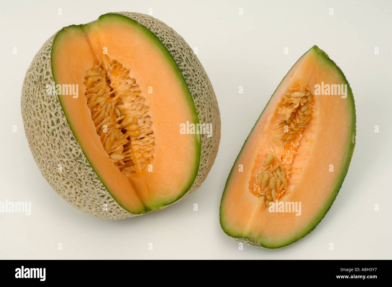 Musk melon supermarket bought and in normal shop condition - Stock Image