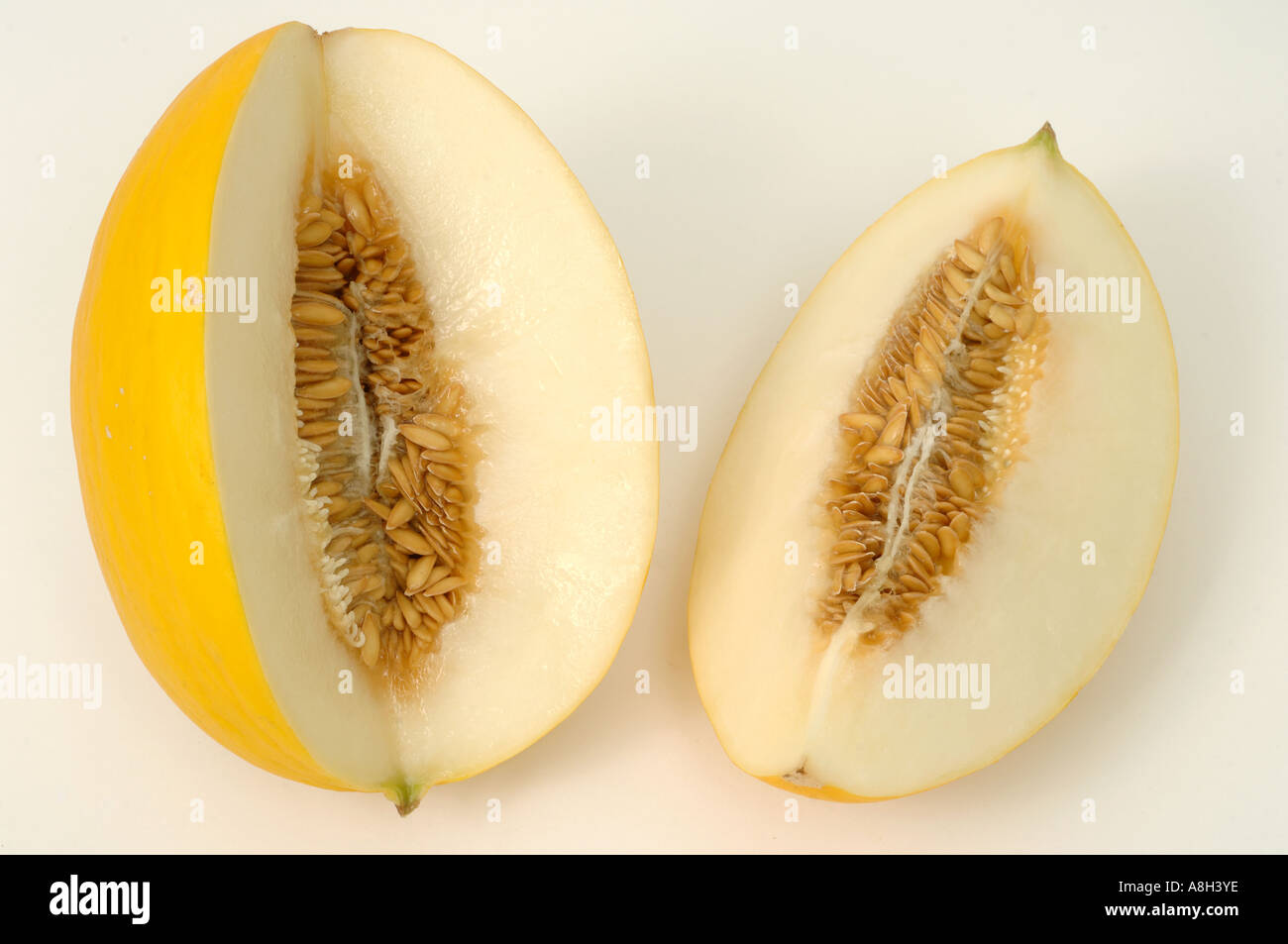 Honeydew melon supermarket bought and in normal shop condition - Stock Image