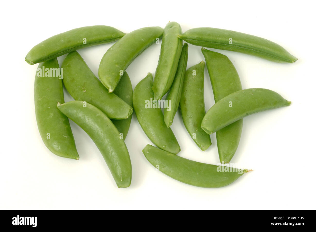 Vegetable produce typical supermarket bought sugar snap peas - Stock Image