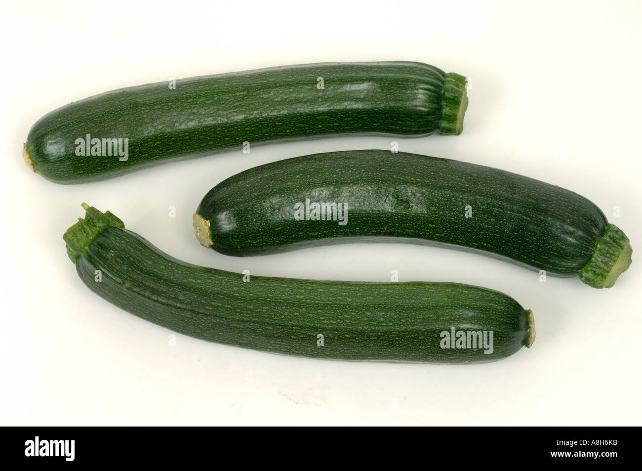 Vegetable produce typical supermarket bought courgettes - Stock Image