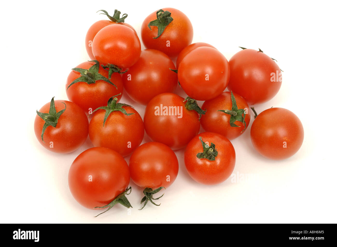 Vegetable produce typical supermarket bought normal cherry tomatoes - Stock Image
