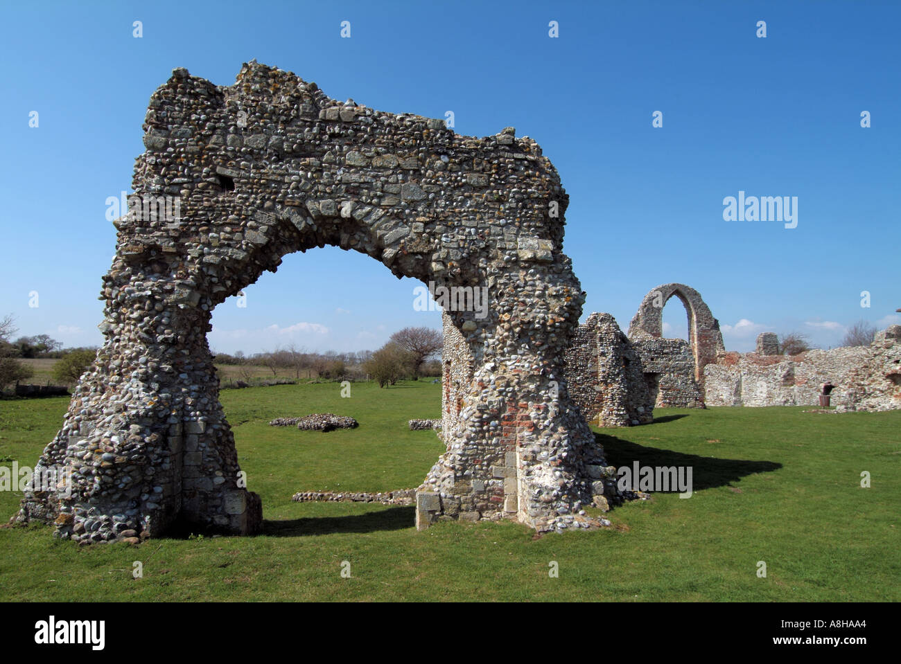 Leiston north east of Ipswich in Suffolk remains of Leiston Abbey for Premonstratensian canons - Stock Image