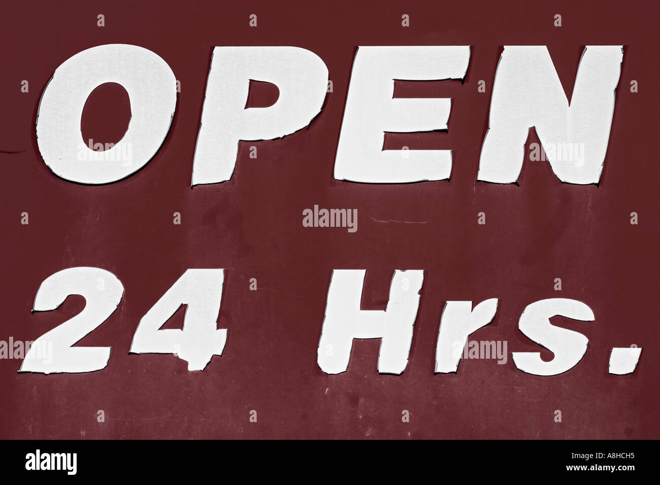 American Type Open 24 Hours - Stock Image