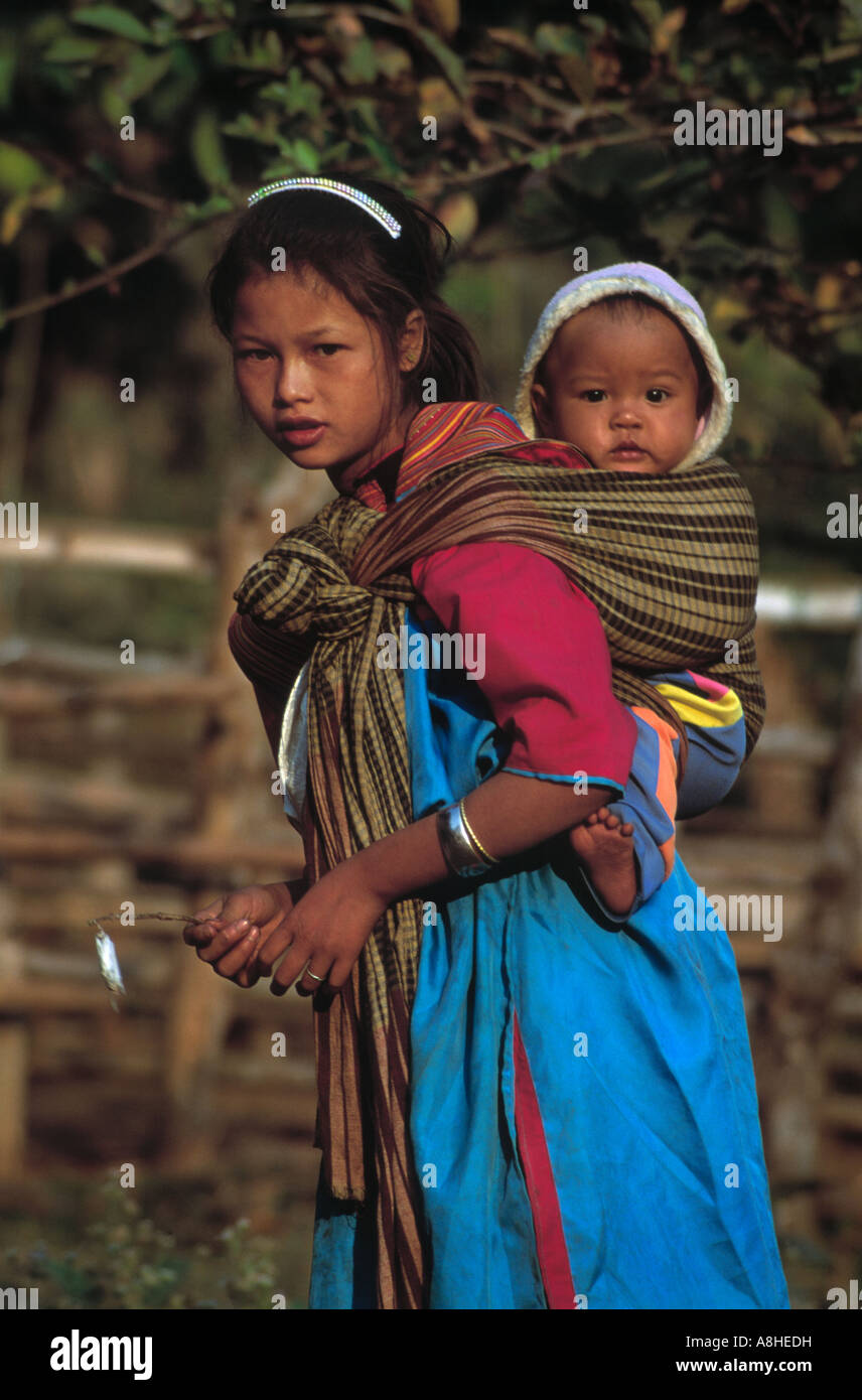 Little Thailand Girl Carrying Baby On Her Back Chiang Mai Asia