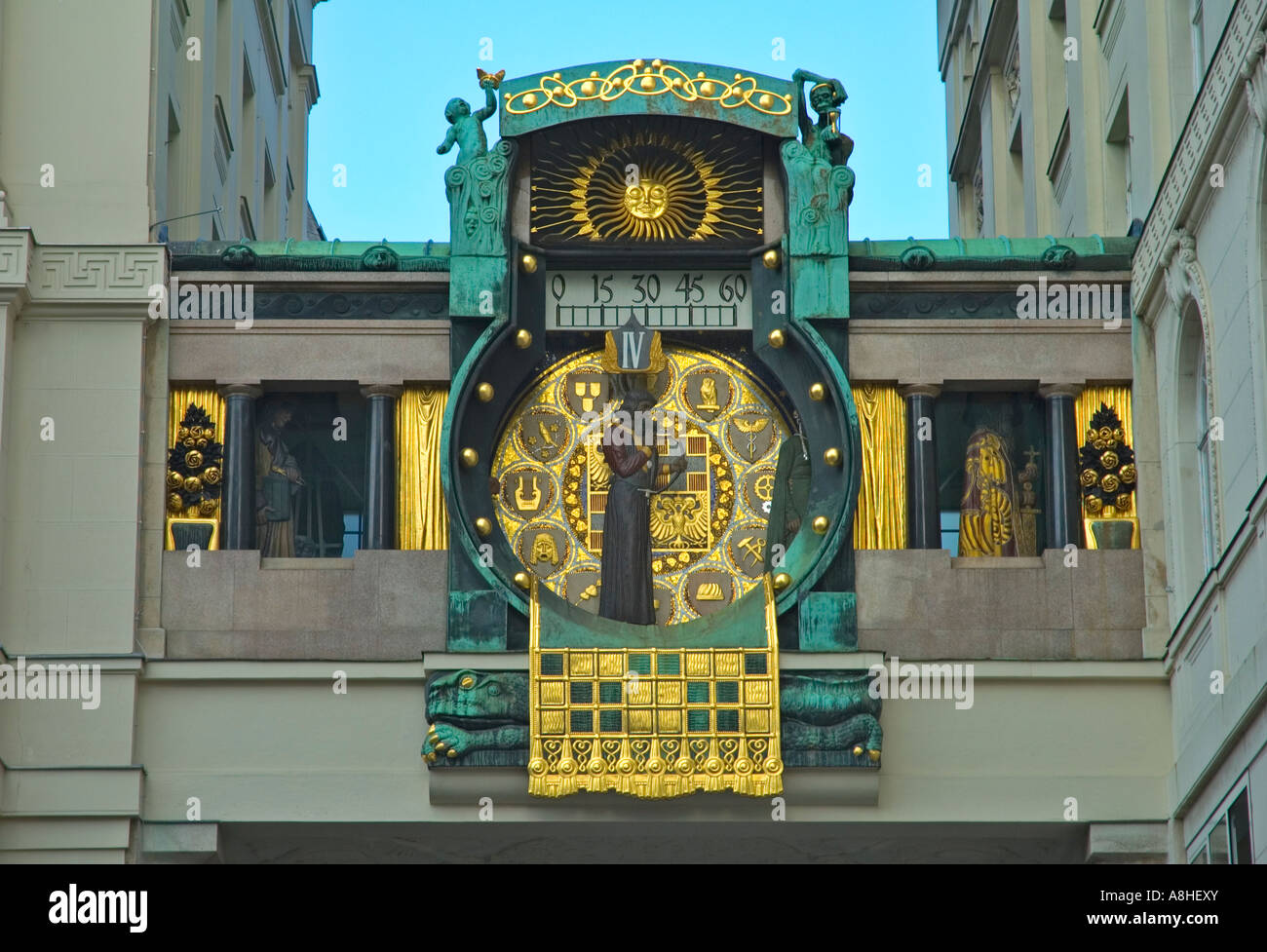 Ankeruhr the so called Anchor clock in Hohermarkt square in Vienna Austria EU Stock Photo
