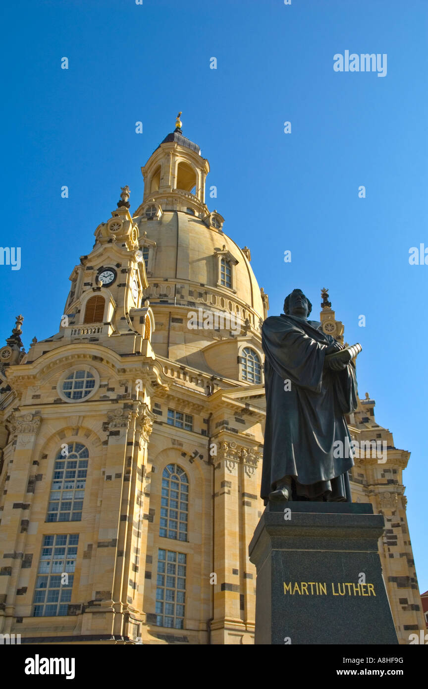Statue of Martin Luther in front of Frauenkirche in Neumarkt central Dresden Germany Europe Stock Photo