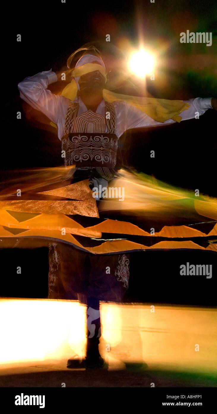 Whirling Egyptian dancer Red Sea Coast Sinai Egypt Stock Photo