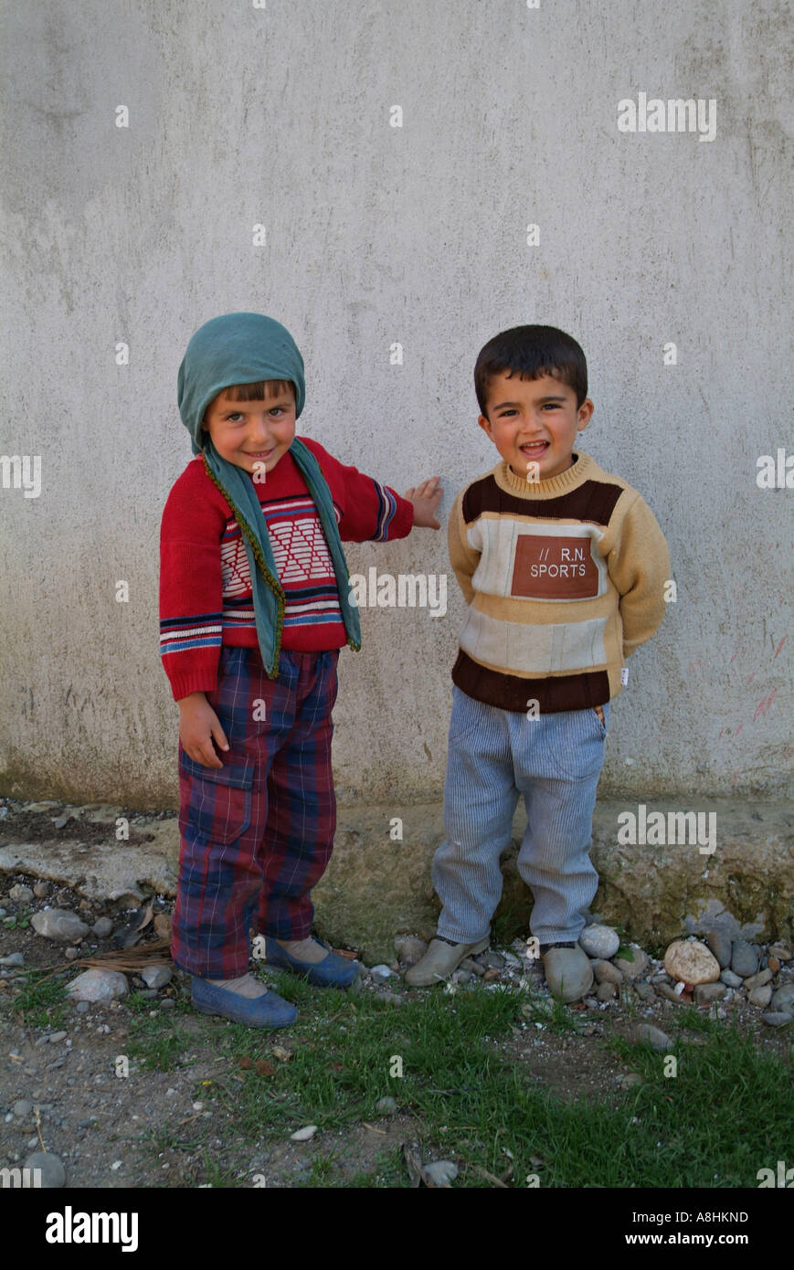 Turkish children photographed outside their rural home Village near Antalya Turkey - Stock Image
