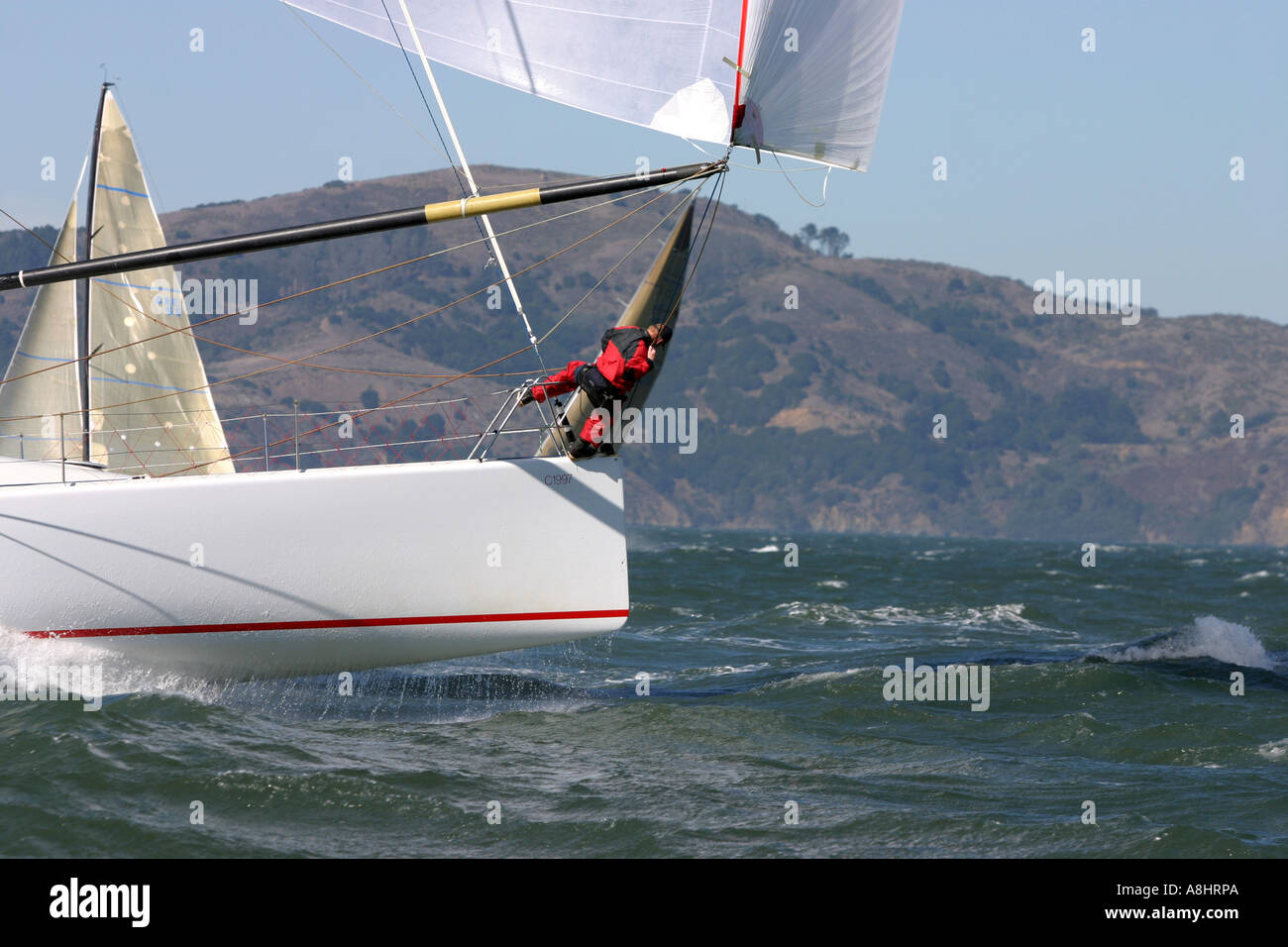 Bowman on Transpac 52 get ready to douse the chute San Fransisco Big Boat Series Presented by Rolex 2004 Stock Photo