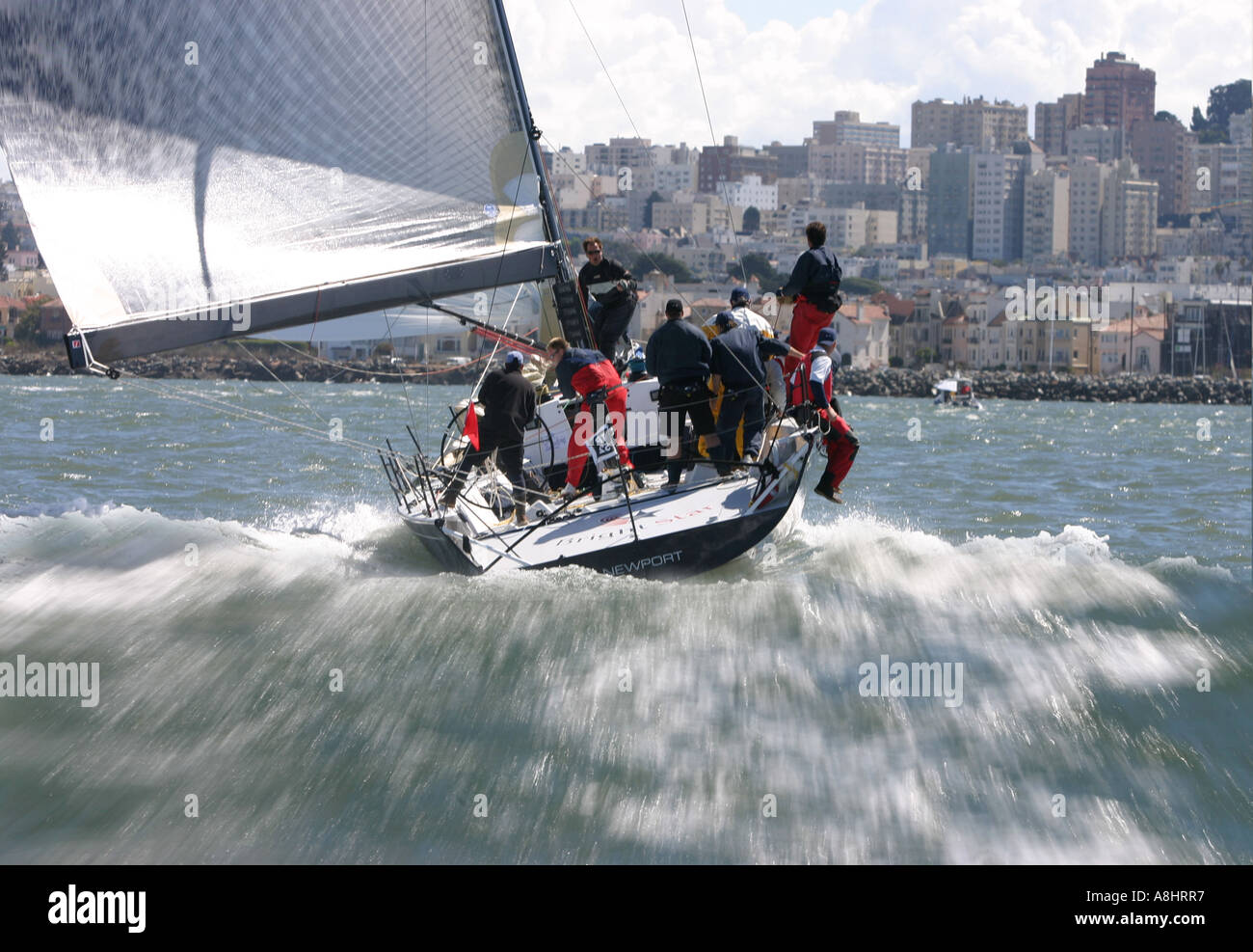 Transpac 52 at high speed San Fransisco Big Boat Series Presented by Rolex 2004 Stock Photo