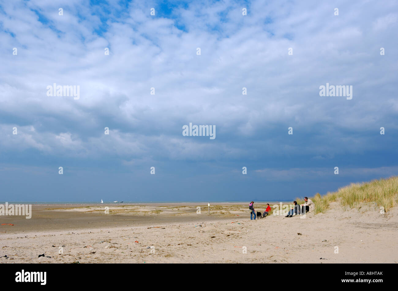 Walking people going home coming from the beach North sea Beach Nordsee beach Zuid Holland Stock Photo