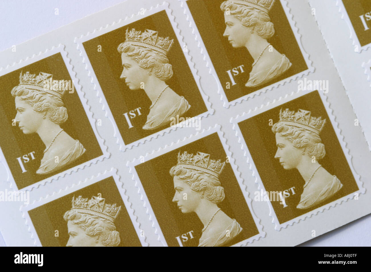 1st Class stamp book of stamps - Stock Image